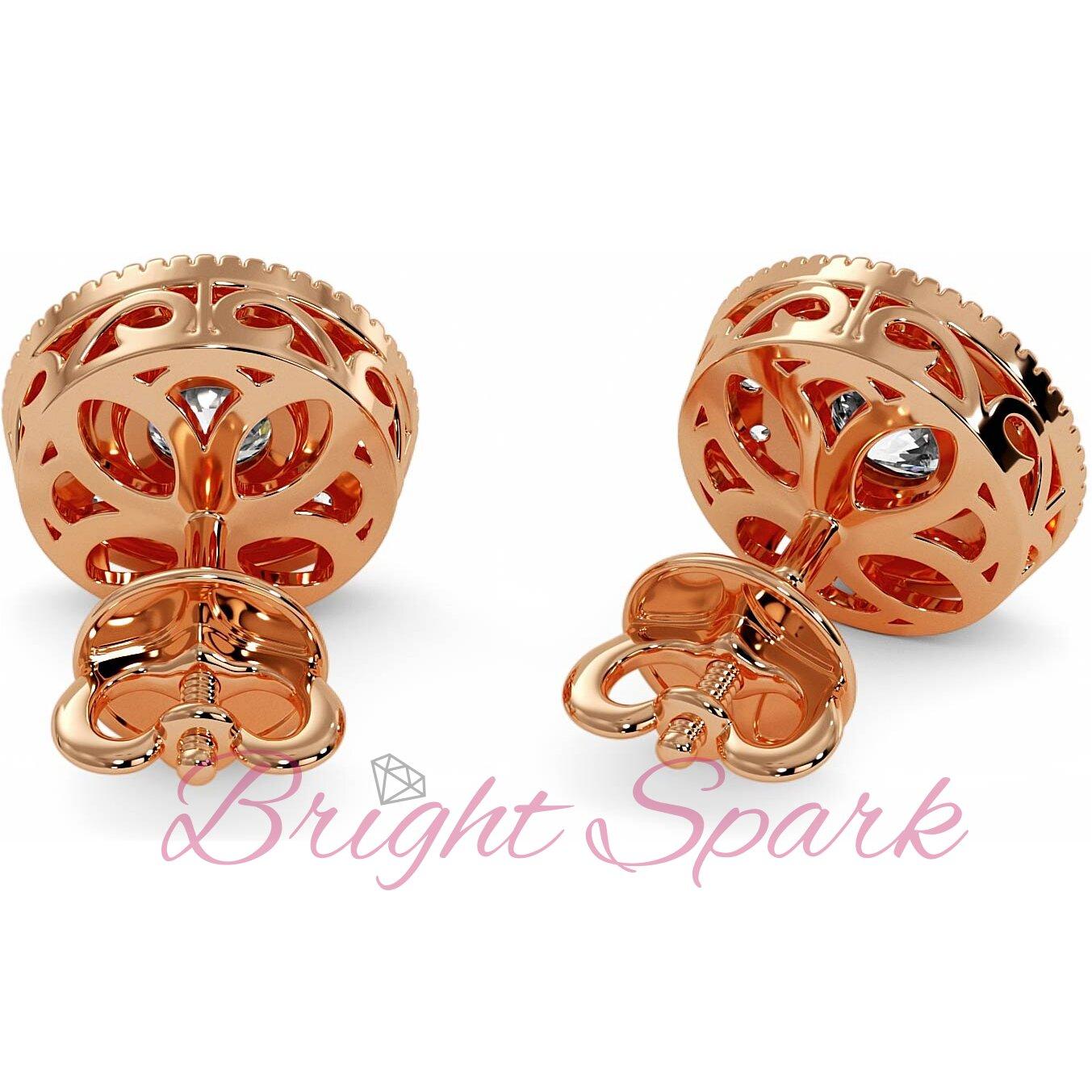 Серьги-пусеты  розового золота с ободком и ореолом на 1  карат