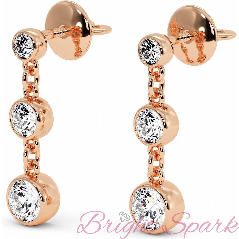 Серьги розового золота с камнями в глухой оправе Bonny на 1,7 карата