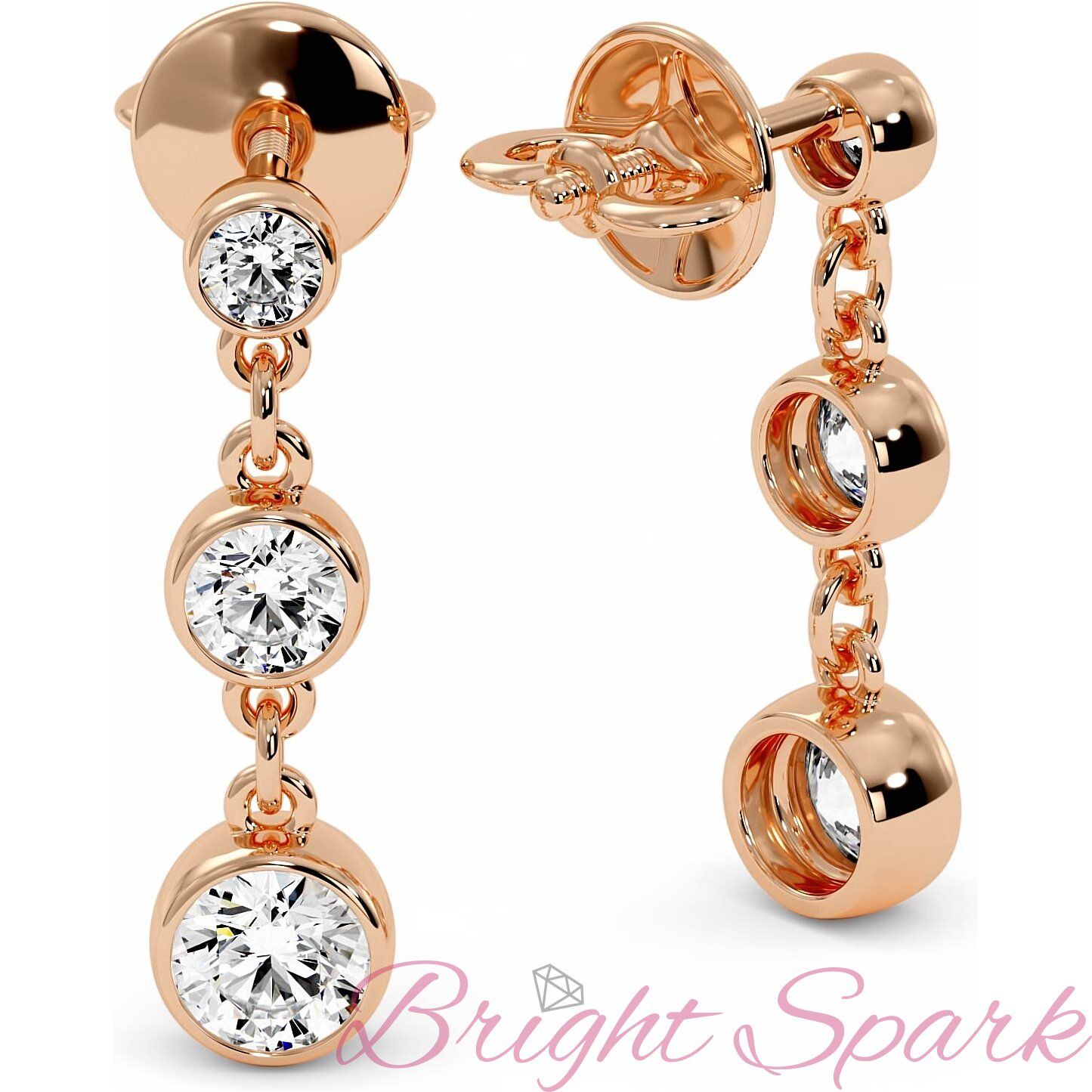 Висячие серьги розового золота с камнями в глухой оправе Bonny 1,7 карата