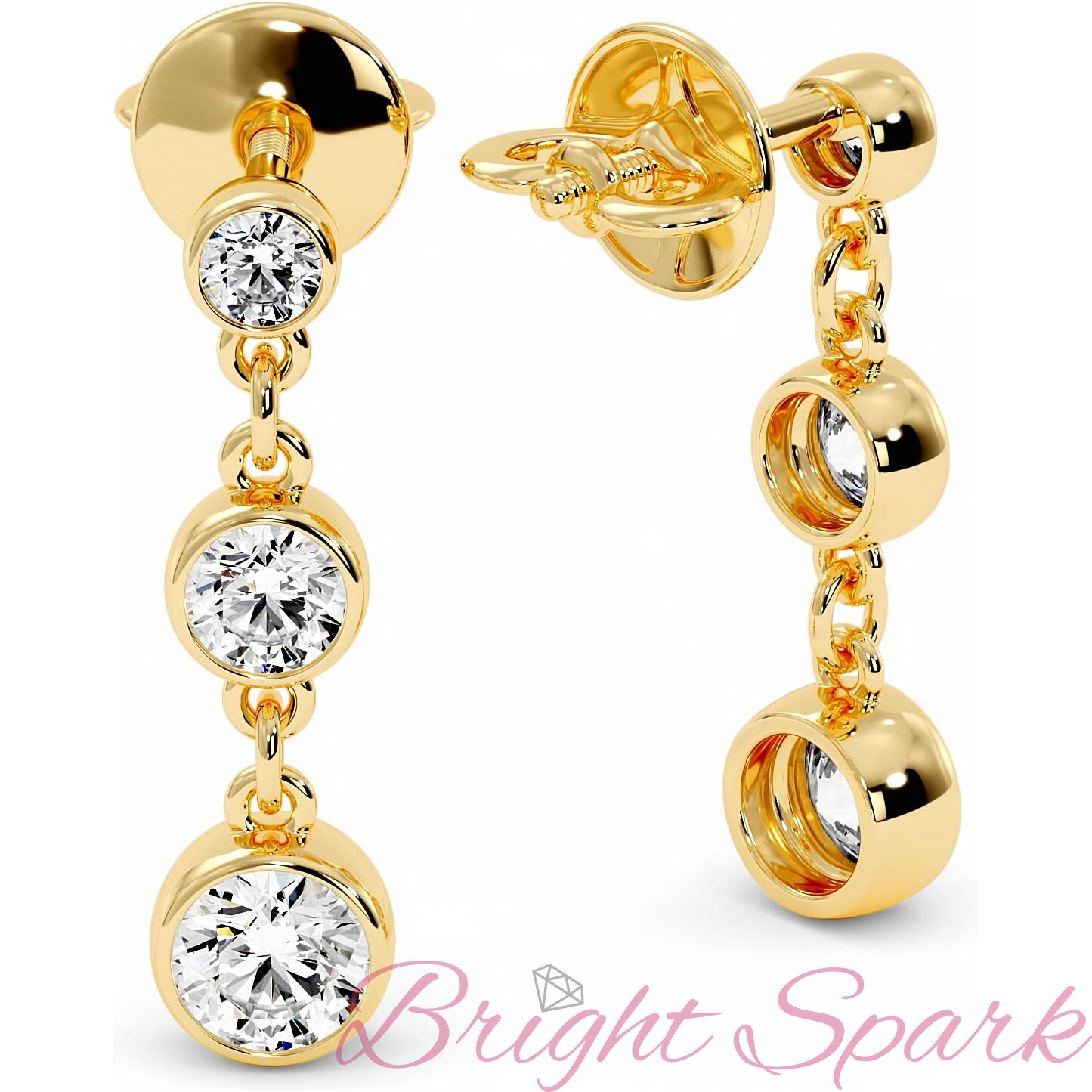 Висячие серьги желтого золота с камнями в глухой оправе Bonny 1,7 карата
