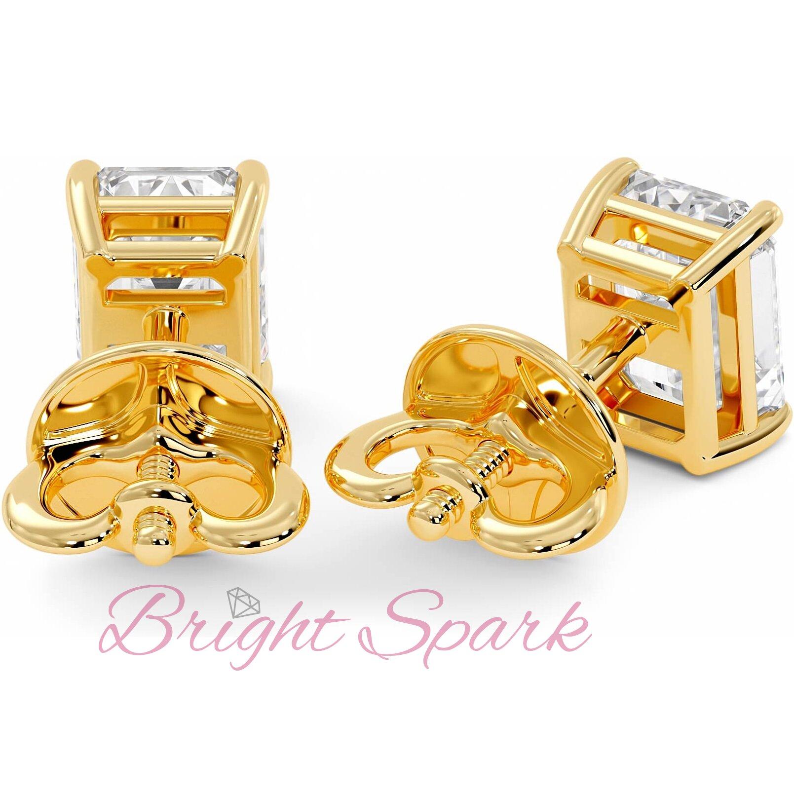Серьги-пусеты желтого золота с муассанитами изумрудной огранки Faith на 2 карата