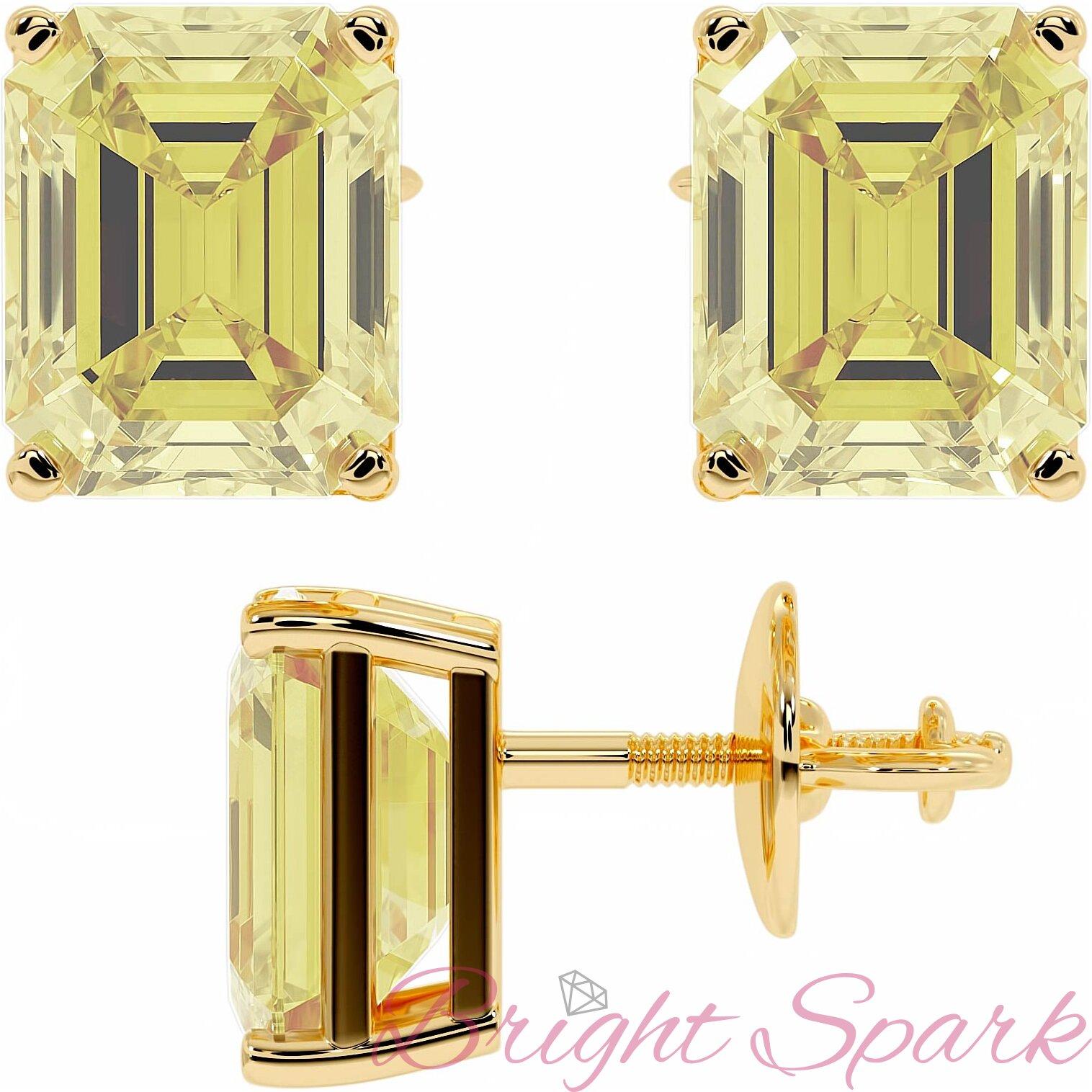 Золотые серьги-пусеты с желтыми муассанитами изумрудной огранки Faith на 5 карат