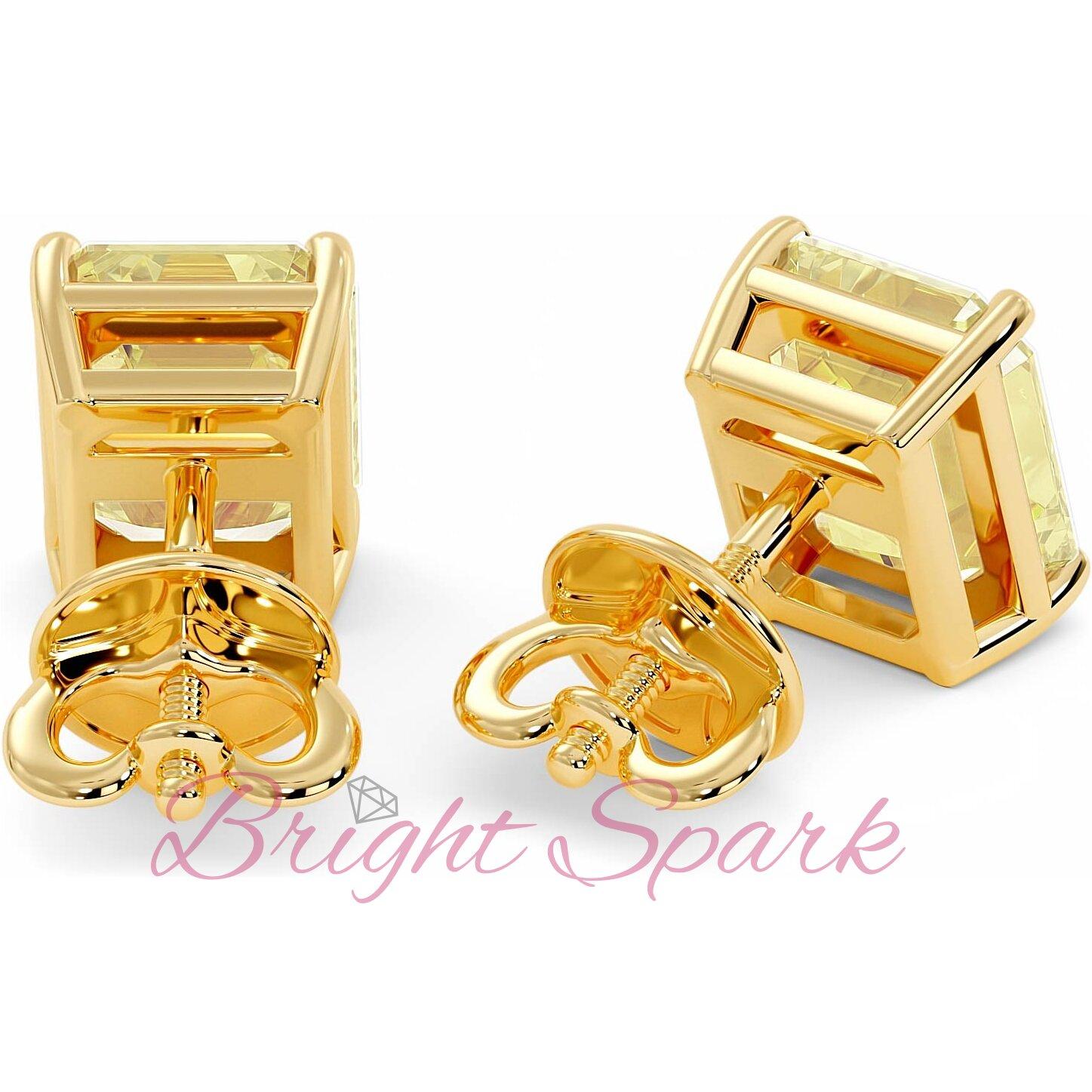 Золотые серьги-пусеты с желтыми муассанитами изумрудной огранки Faith 5 карат