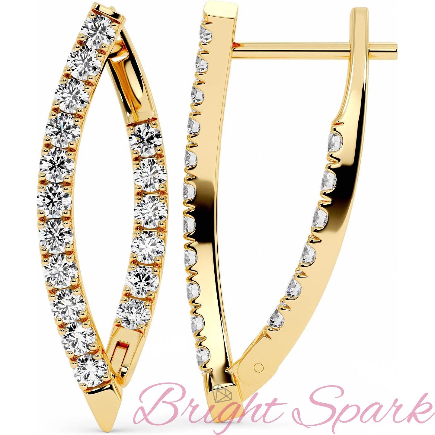 Серьги желтого золота с дорожками бриллиантов Roxy 1,4 карата