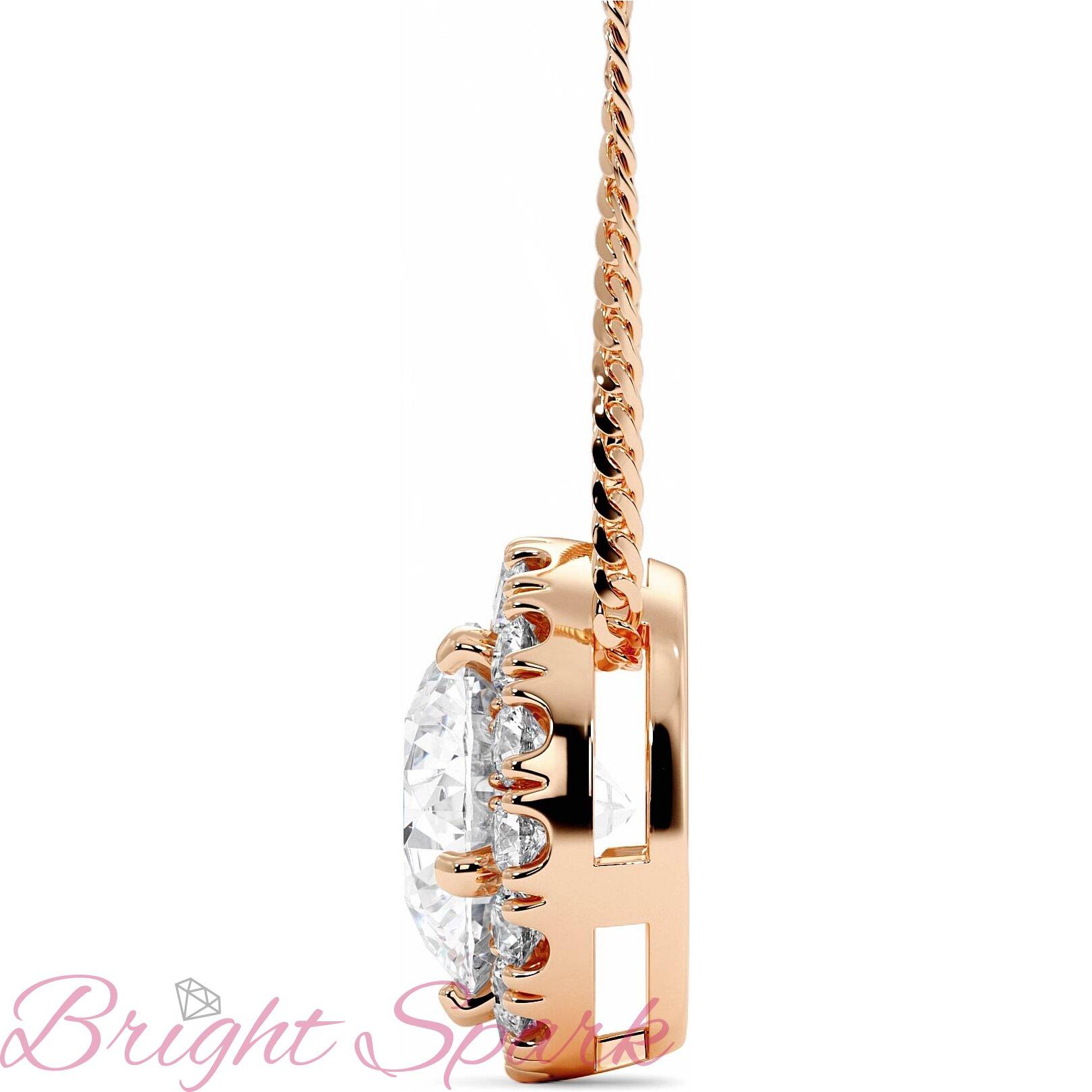 Подвеска-бегунок розового золота c муассанитом в ореоле Amalia на 1,2 карата