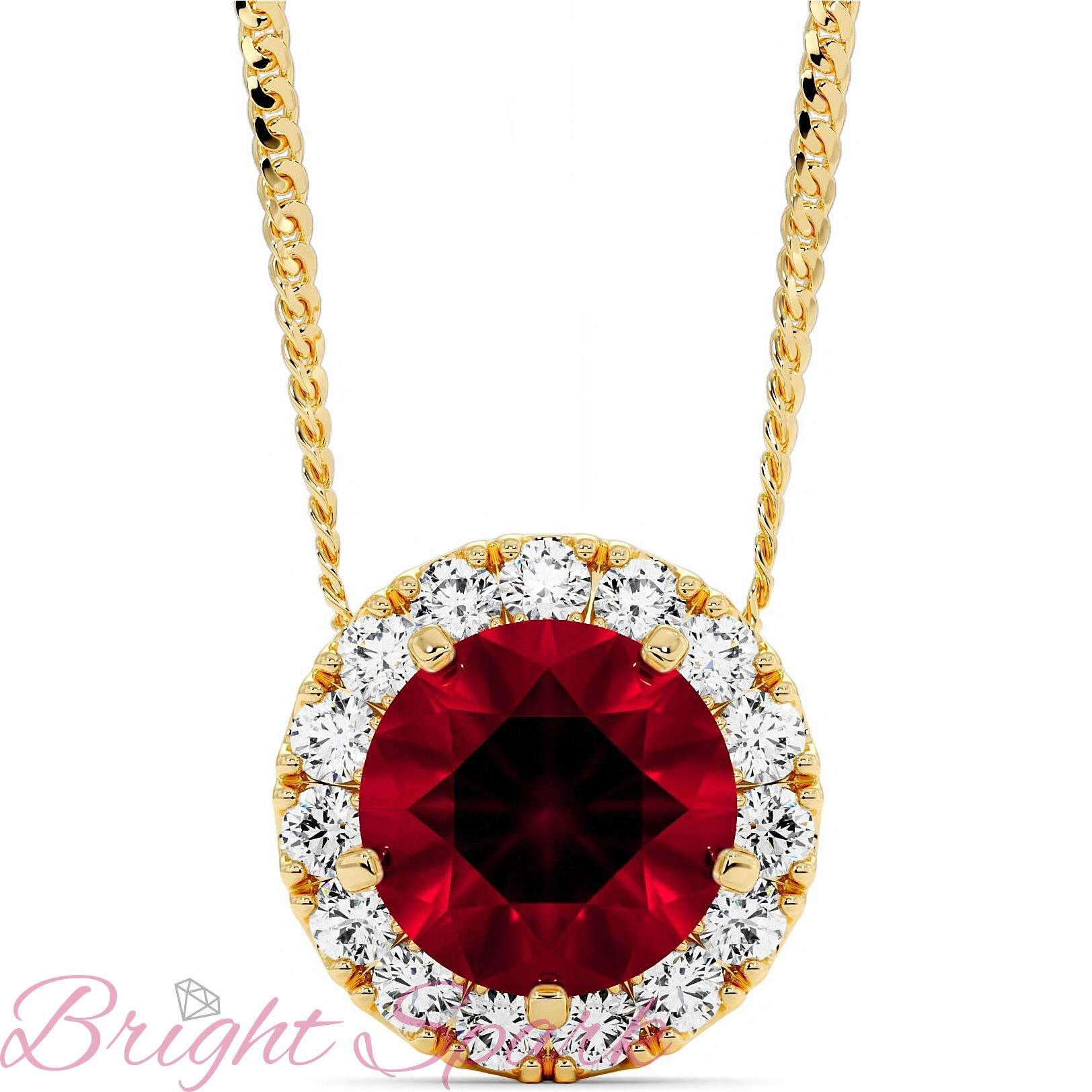Золотая подвеска-бегунок c рубином в ореоле Amalia 1,4 карата