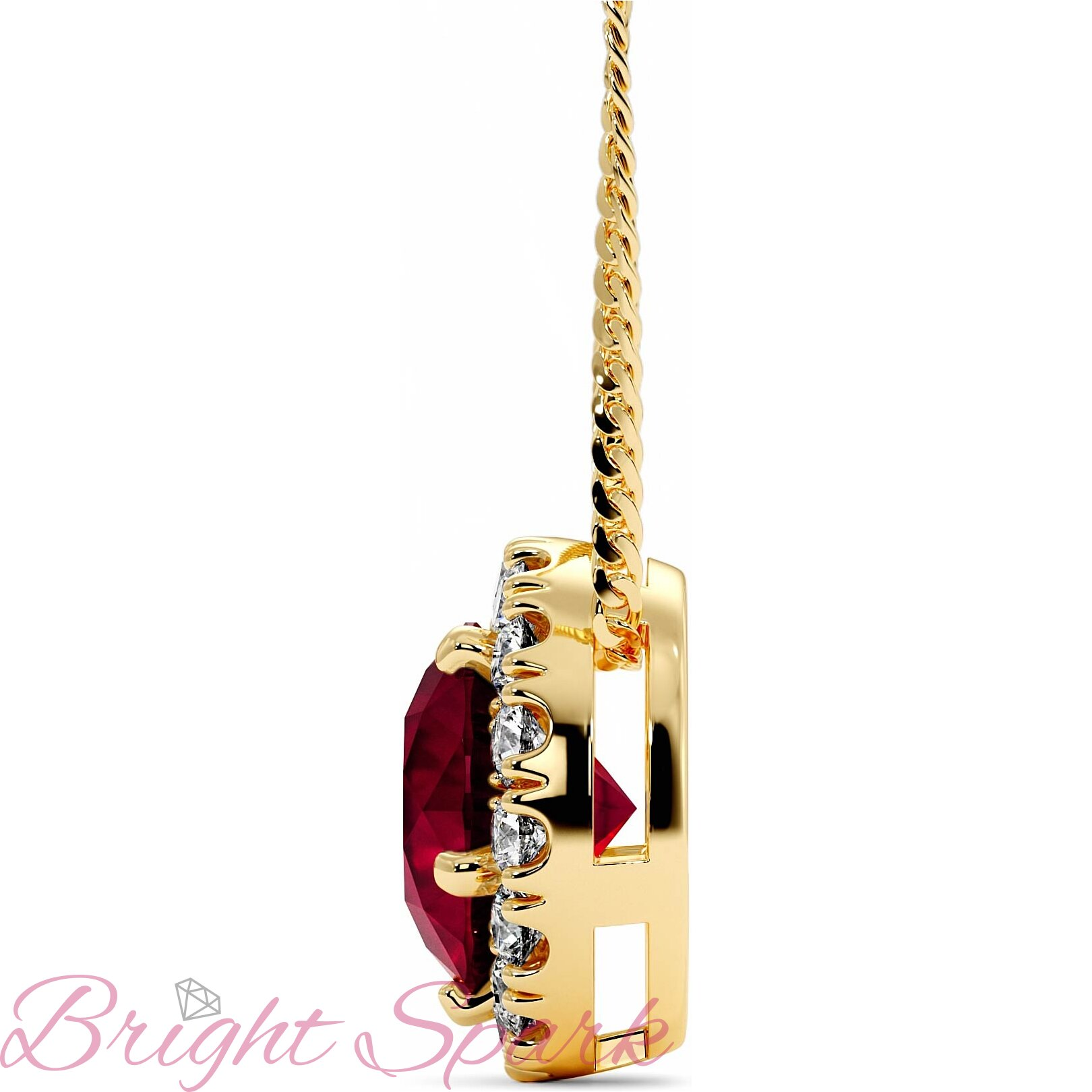 Золотая подвеска-бегунок c рубином в ореоле Amalia на 1,4 карата