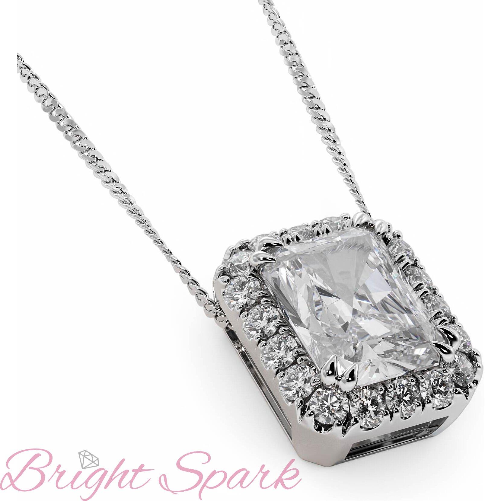 Кулон белого золота с бриллиантом огранки радиант в ореоле 1,9 карата Bertha