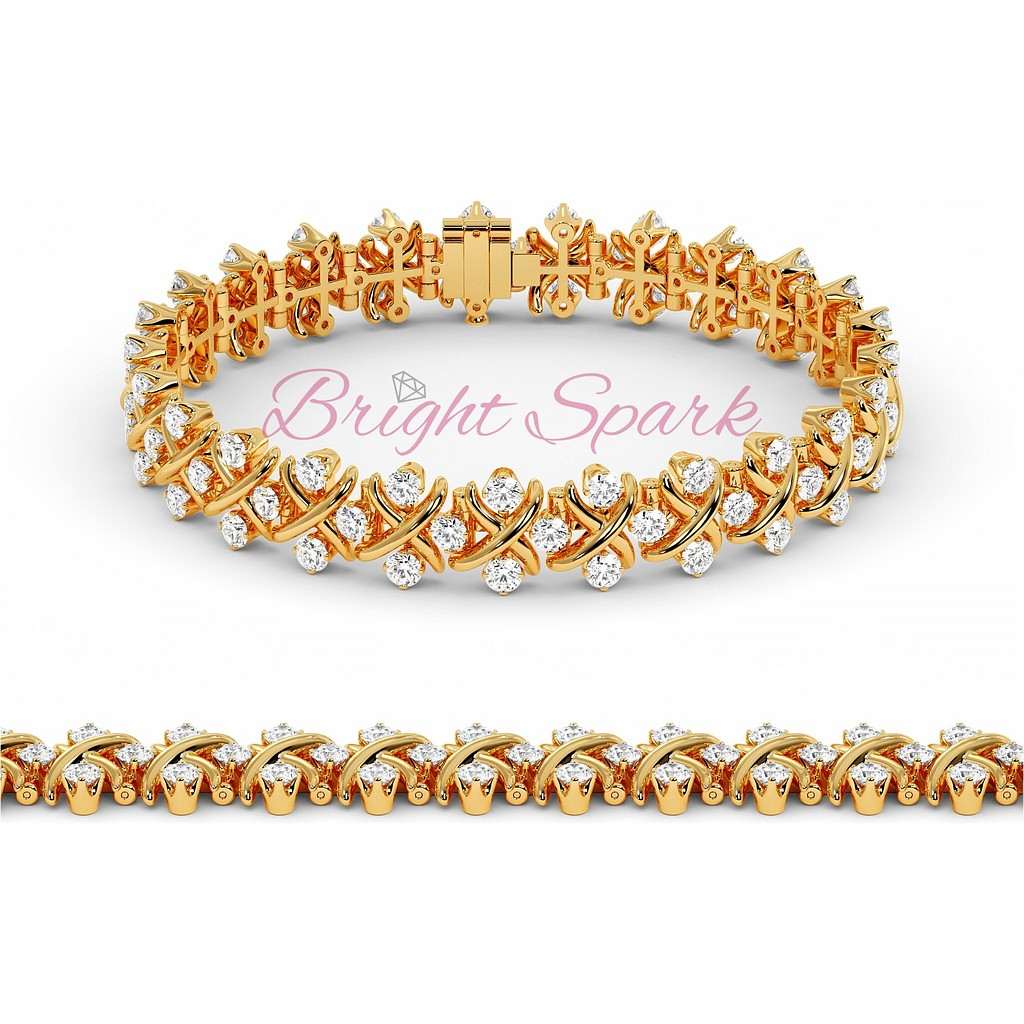 Браслет розового золота с иксами и россыпью муассанитов Sixteen Stone 2,3 карата