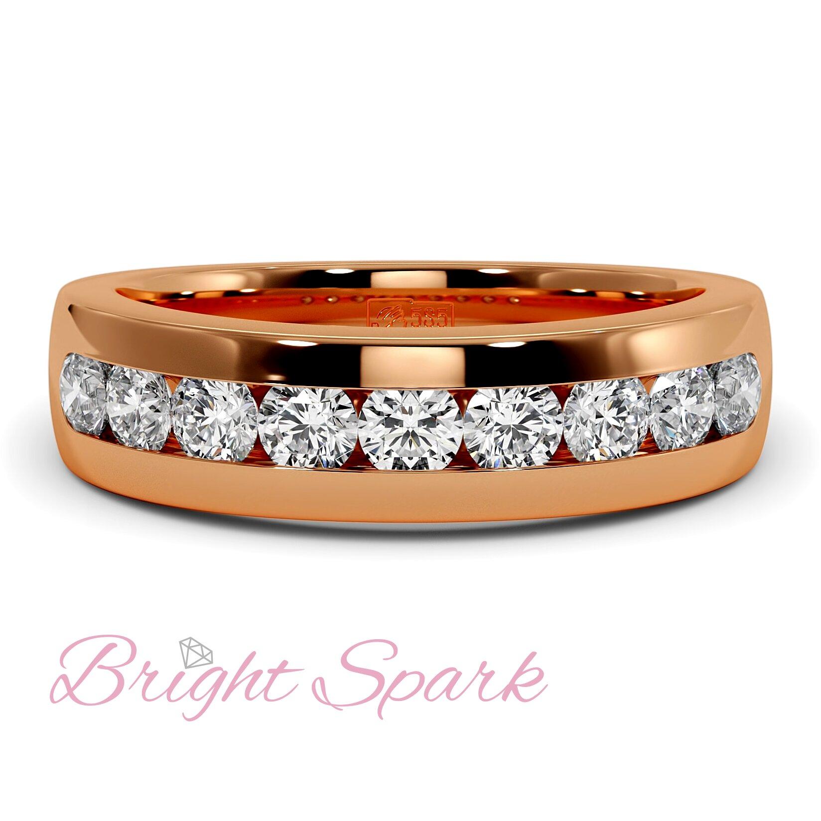 Обручальное кольцо красного золота с 9 камнями Robert 0,9 карата