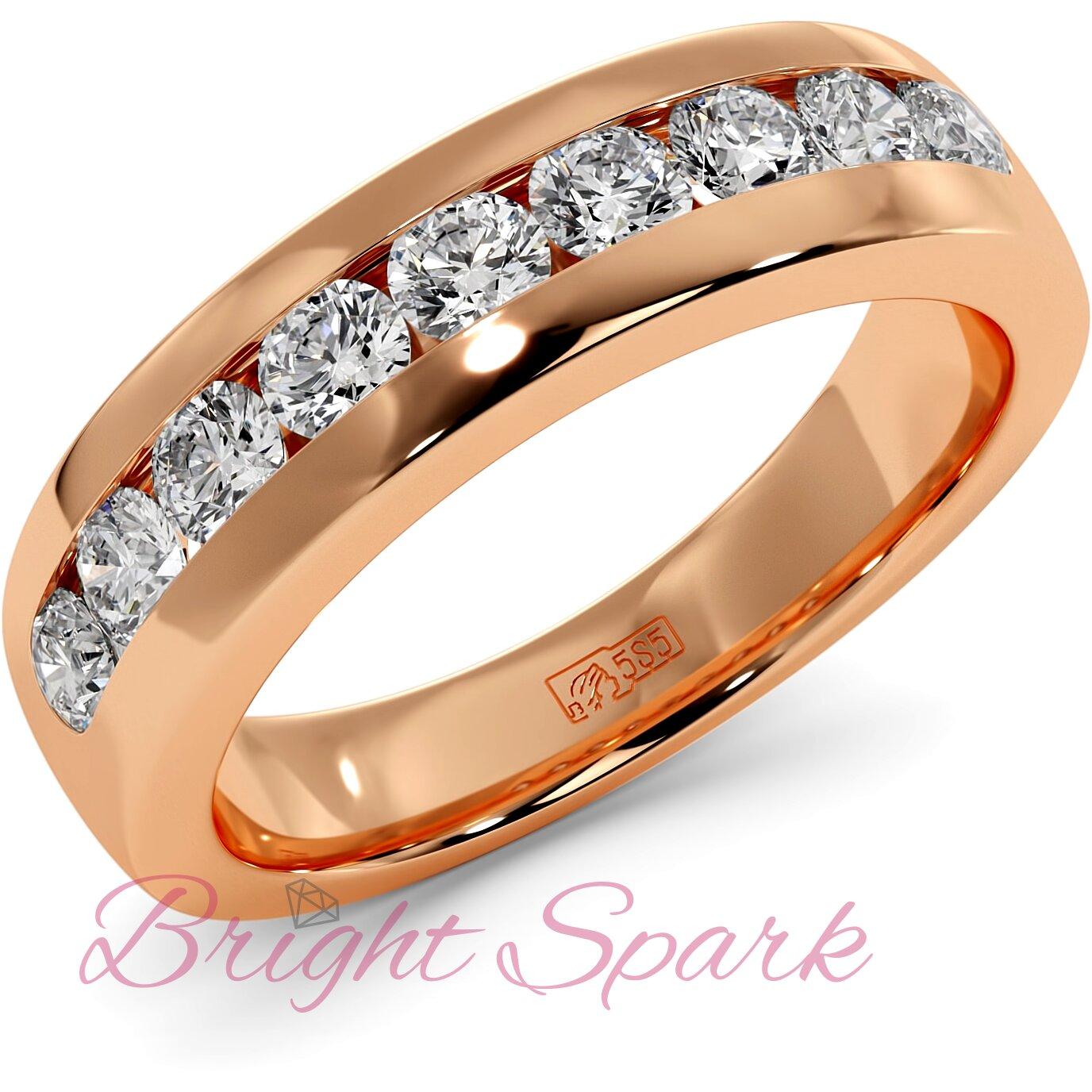 Обручальное кольцо розового золота с 9 камнями Robert 0,9 карата