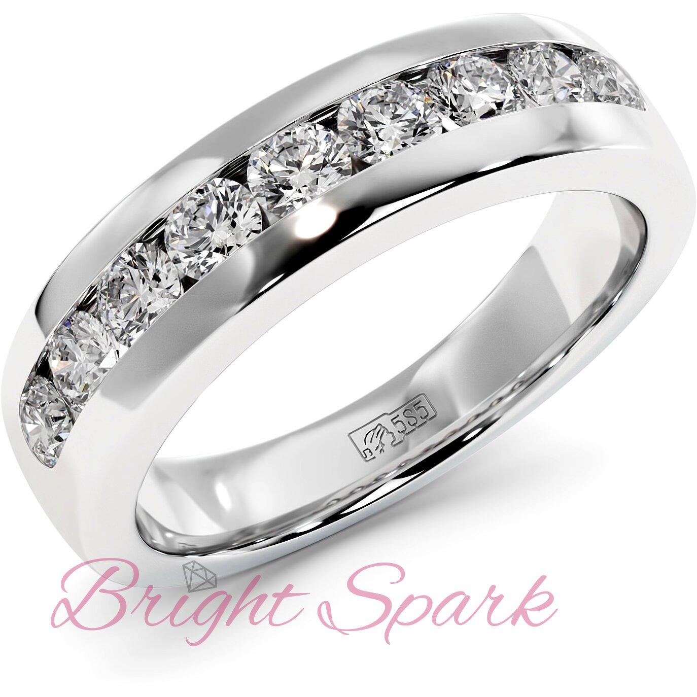 Обручальное кольцо белого золота с 9 камнями Robert 0,9 карата