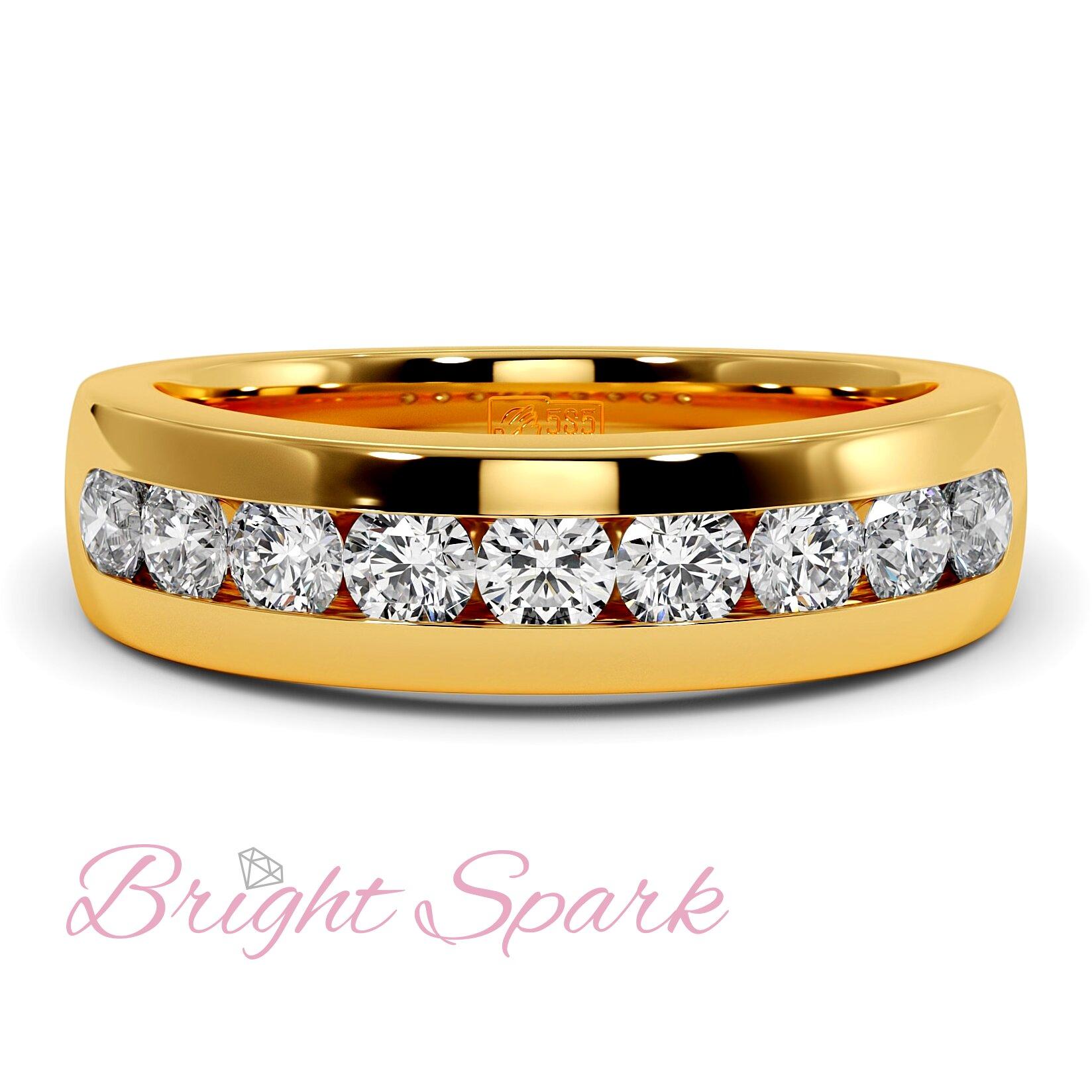 Обручальное кольцо желтого золота с 9 муассанитами Robert 0,9 карата