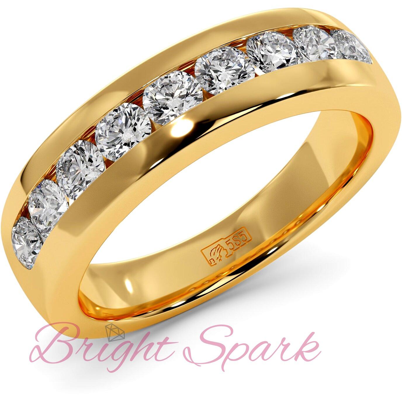 Обручальное кольцо желтого золота с 9 камнями Robert 0,9 карата
