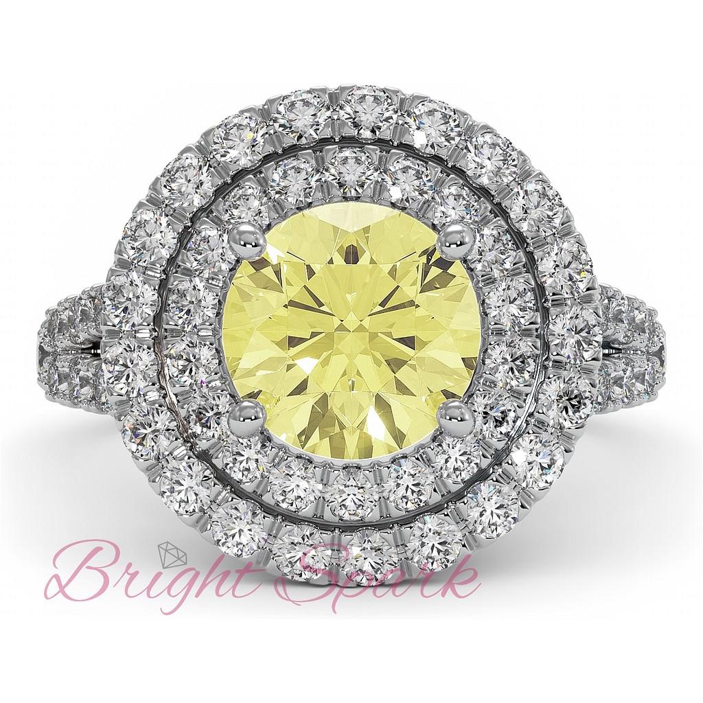 Кольцо с желтым бриллиантом 1,5 карата Fancy Yellow