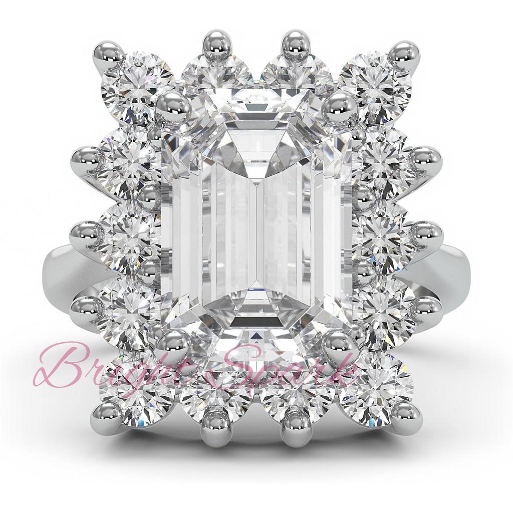 Крупное кольцо с бриллиантом в ореоле бриллиантов 5 карат