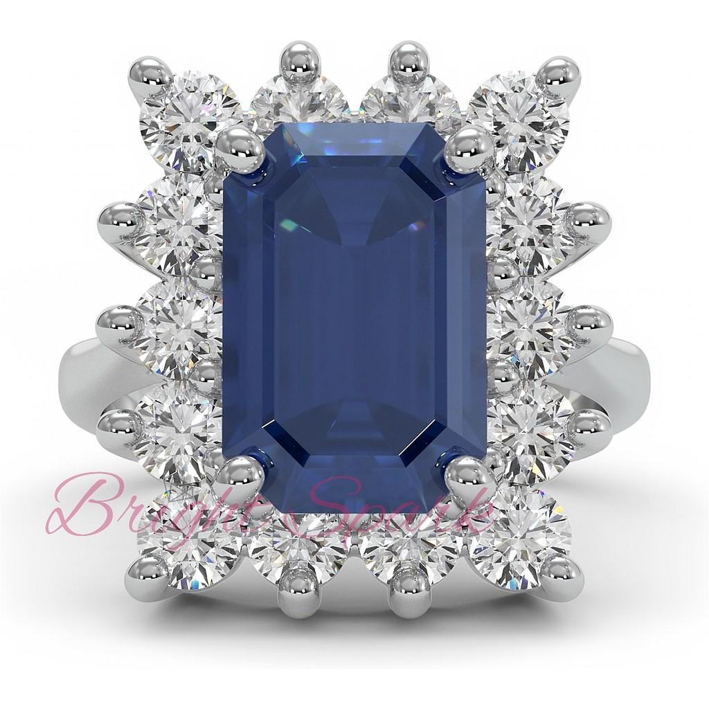 Крупное кольцо с сапфиром в обрамлении бриллиантов 5,6 карата