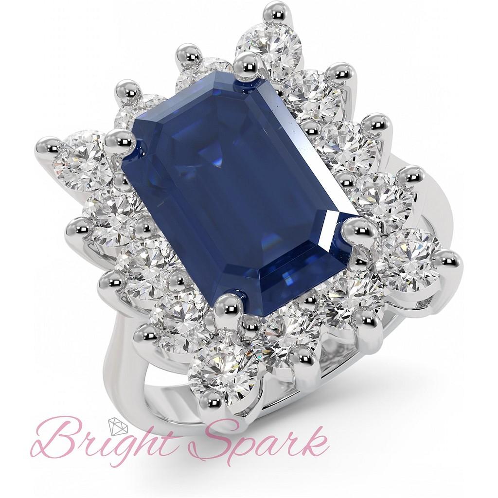 Крупное кольцо с сапфиром и бриллиантами 5,6 карата
